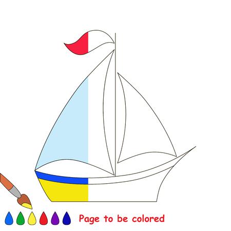Barco. Media Página A Colorear. Ilustraciones Vectoriales, Clip Art ...