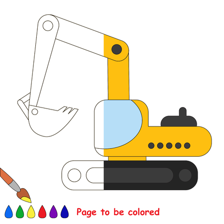 colorless: Excavator to be colored, the coloring book to educate preschool kids with easy kid educational games and primary education of simple game level, colorless half of picture to be colored by sample half.