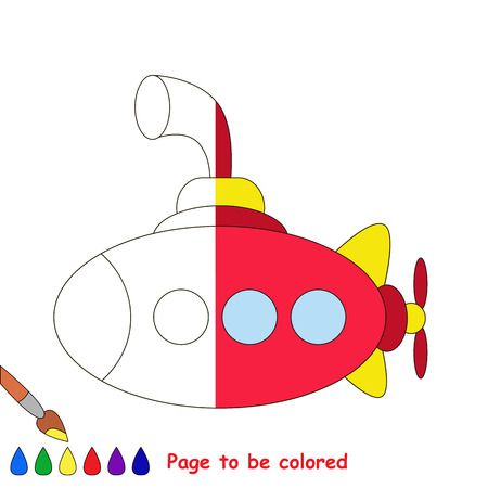 primeval: Submarine to be colored, the coloring book to educate preschool kids with easy kid educational gaming and primary education of simple game level. The colorless half of picture to be colored by sample.