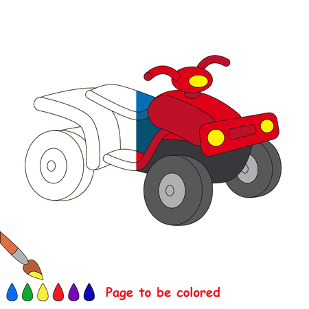 Quad bike to be colored, the coloring book to educate preschool kids with easy kid educational gaming and primary education of simple game level. The colorless half of picture to be colored by sample
