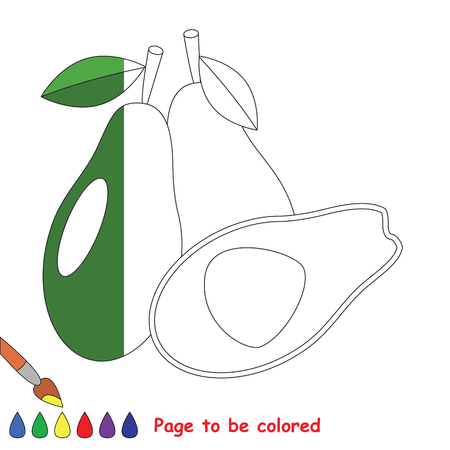primeval: Avocado to be colored, the coloring book to educate preschool kids with easy kid educational gaming and primary education of simple game level. The colorless half. Illustration
