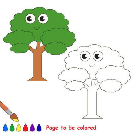 Lustiger Grüner Zu Färbender Blatt-Baum, Das Malbuch, Zum Von ...