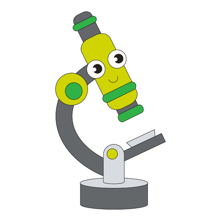 Microscope cartoon. Outlined object with black stroke. Illustration