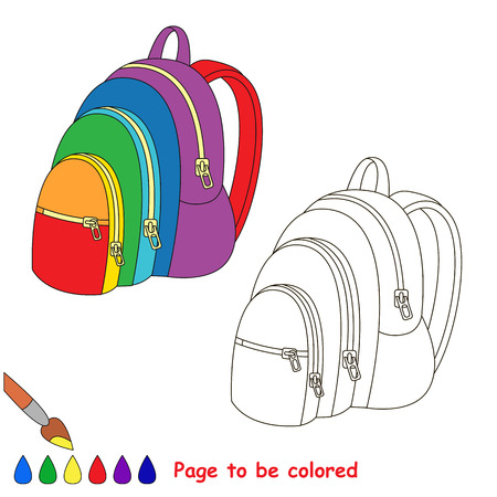 Rainbow backpack to be colored, the coloring book to educate preschool kids with easy kid educational gaming and primary education of simple game level. Illustration