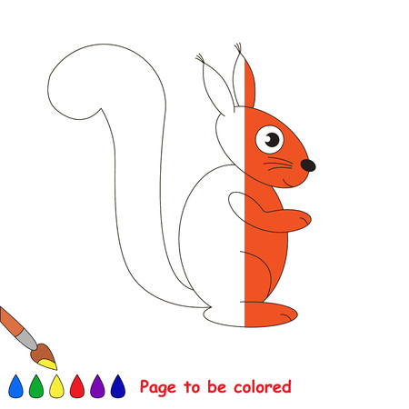 colorless: Sqirrel to be colored, the coloring book to educate preschool kids with easy kid educational level to color the colorless half by sample..