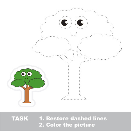 joining the dots: Restore dashed line and color the picture, the educational vector game for kids with easy game level. Simple kid tracing worksheet with Leaf Tree.