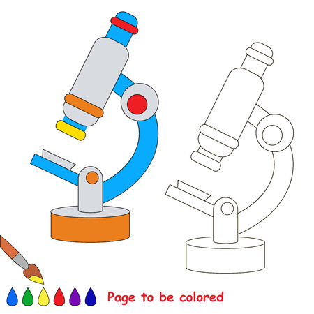 Microscope to be colored, the coloring book to educate preschool kids with easy kid educational gaming and primary education of simple game level.