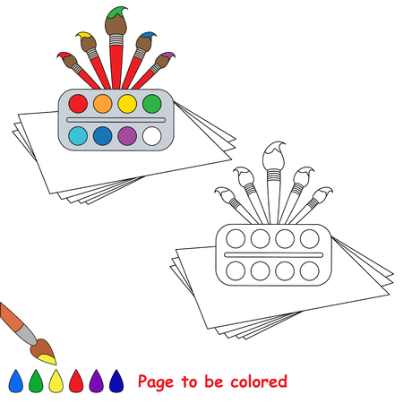 Watercolor and Brushes to be colored, the coloring book to educate preschool kids with easy kid educational gaming and primary education of simple game level. Illustration