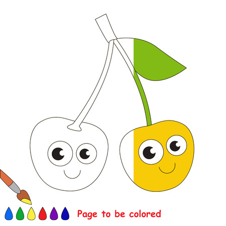 Cherry to be colored, the coloring book to educate preschool kids with easy kid educational gaming and primary education of simple game level. Stock Photo