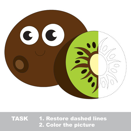 Kiwi to be colored. Vector trace game.