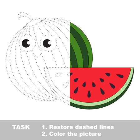 watermelon to be colored vector trace game royalty free cliparts