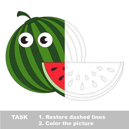 Watermelon to be colored. Vector trace game.