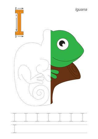 Half trace game for letter I. Iguana. Stok Fotoğraf - 73829544