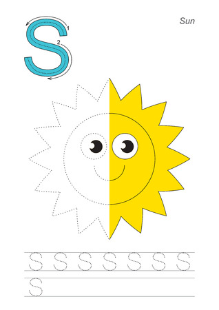 joining the dots: Half trace game for letter S. Sun. Illustration