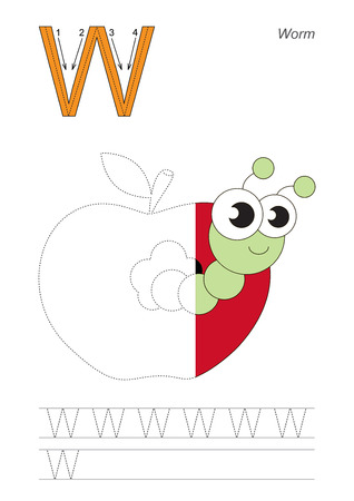 Half trace game for letter W. Worm. Illustration