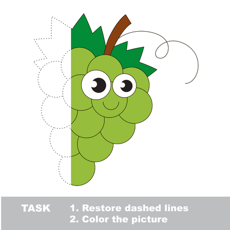 White grapes to be colored. Vector trace game.