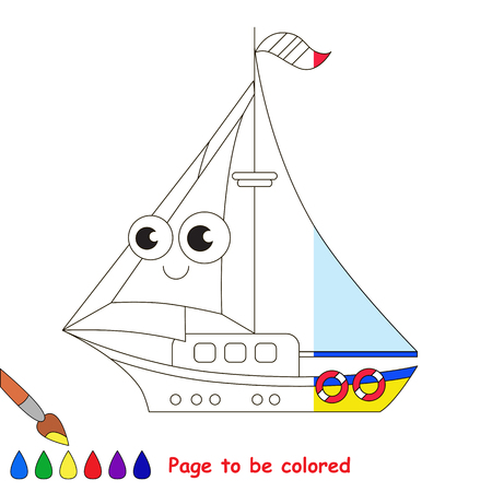 Boat. Half page to be colored.