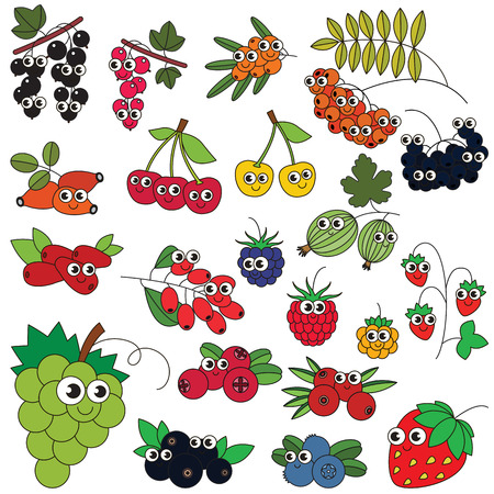 cowberry: Set of funny cartoon berries.