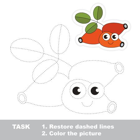 Trace game for Dog Rose. Illustration