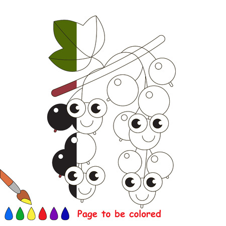 Blackcurrant to be colored, the coloring book to educate preschool kids with easy kid educational gaming and primary education of simple game level. Illustration
