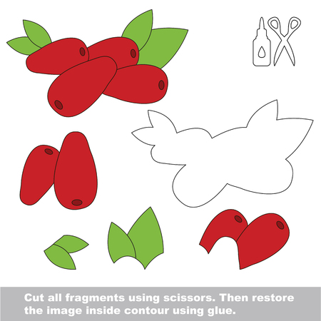 Use scissors and glue and restore the picture inside the contour. Easy educational paper game for kids. Simple kid application with Cornelian cherry