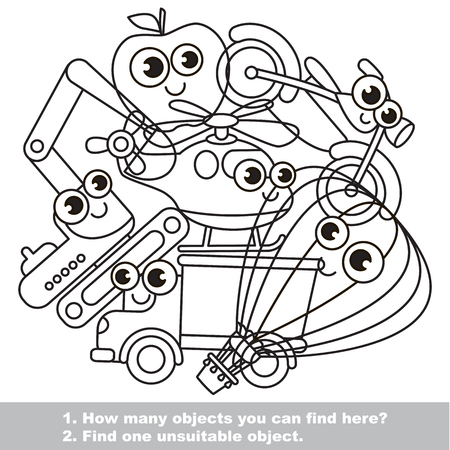 Funny toy machines mishmash set in vector outlined to be colored. Find all hidden objects on the picture. Easy educational kid game. Simple level of difficulty. Visual game for children.