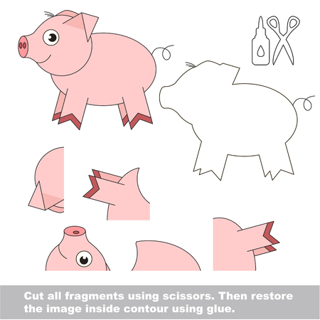 Use scissors and glue and restore the picture inside the contour. Easy educational paper game for kids. Simple kid application with Funny Piggy.