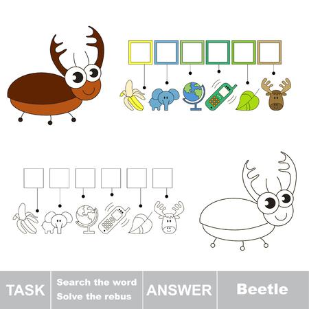 Vector Rebus gioco per i bambini. Facile gioco bambino educativo. livello di gioco semplice. Trovare soluzione e scrivere la parola nascosta Beetle