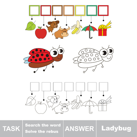 Vector rebus game for children. Easy educational kid game. Simple game level. Find solution and write the hidden word Ladybug. Illustration