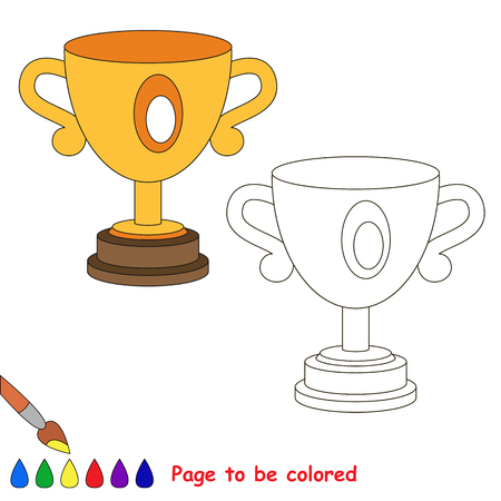 Winner cup to be colored, the coloring book to educate preschool kids with easy kid educational gaming and primary education of simple game level of difficulty. Illustration