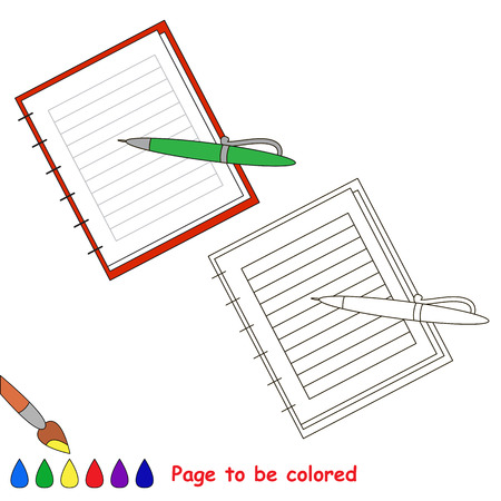 Copy book and pen to be colored, the coloring book to educate preschool kids with easy kid educational gaming and primary education of simple game level of difficulty.