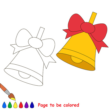 Bell and bow to be colored, the coloring book to educate preschool kids with easy kid educational gaming and primary education of simple game level of difficulty. Illustration