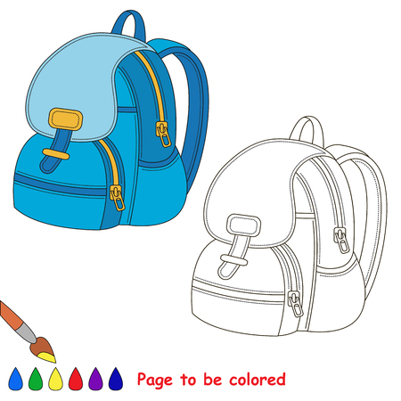 Blue backpack to be colored, the coloring book to educate preschool kids with easy kid educational gaming and primary education of simple game level of difficulty.