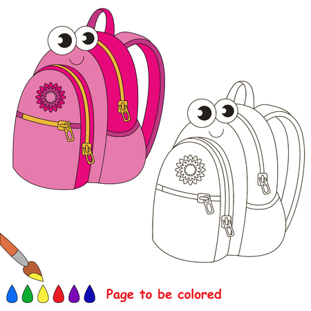 School backpack to be colored. Coloring book to educate kids. Learn colors. Visual educational game. Simple level. Coloring pages. Illustration