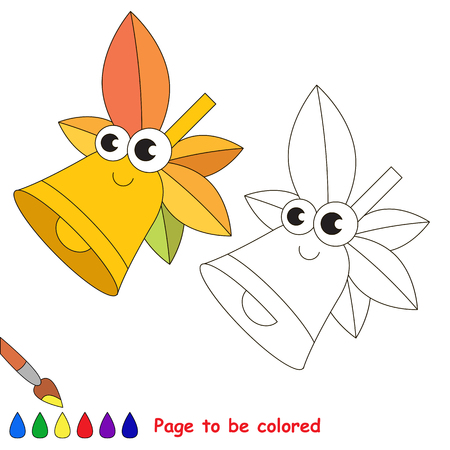 School bell to be colored. Coloring book to educate preschool kids with easy kid educational gaming and primary education of simple game level of difficulty. Illustration
