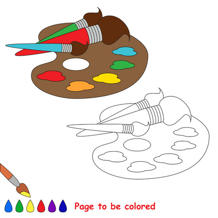 Pallette and watercolor and brushes to be colored, the coloring book to educate preschool kids with easy kid educational gaming and primary education of simple game level of difficulty.