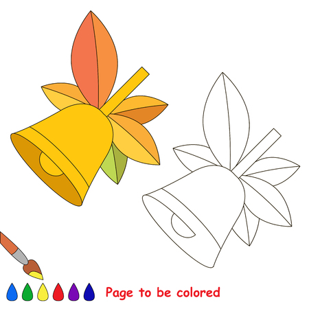 School Bell with autumn leaves to be colored, the coloring book to educate preschool kids with easy kid educational gaming and primary education of simple game level.