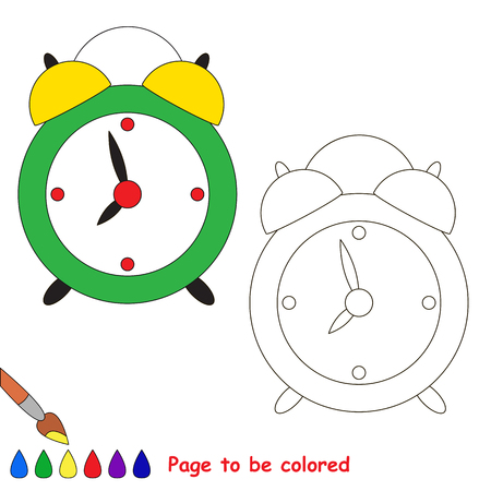Green clock to be colored, the coloring book to educate preschool kids with easy kid educational gaming and primary education of simple game level of difficulty. Illustration