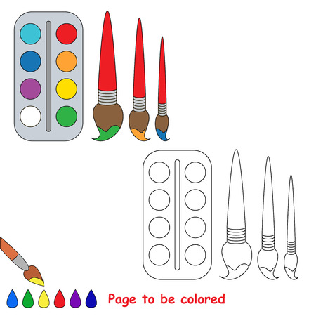 Watercolor with brushes to be colored, the coloring book to educate preschool kids with easy kid educational gaming and primary education of simple game level.
