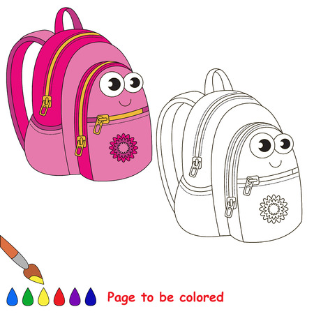 Pink school bag to be colored. Coloring book to educate preschool kids with easy kid educational gaming and primary education of simple game level of difficulty.