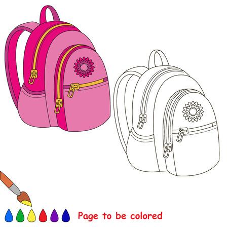 Bolsa De La Escuela Rosa Para Colorear. Libro Para Colorear Para ...