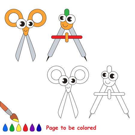 Tijeras Y Divisor Para Colorear. Libro De Colorear Para Educar A Los ...