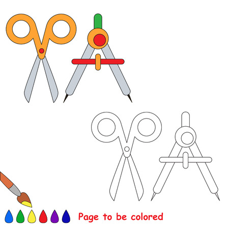 Scissors and divider to be colored, the coloring book to educate preschool kids with easy kid educational gaming and primary education of simple game level of difficulty. Illustration