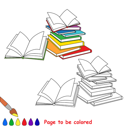 Many Opened books to be colored, the coloring book to educate preschool kids with easy kid educational gaming and primary education of simple game level.