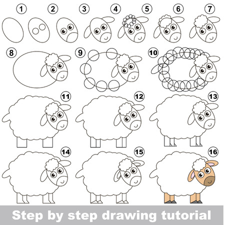 Kid education and gaming - the drawing tutorial for preschool children with easy educational kid game level, the funny drawing school. How to draw Sheep.