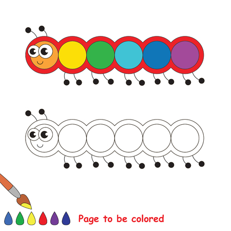Millipede to be colored, the coloring book to educate preschool kids with easy kid educational gaming and primary education of simple game level.