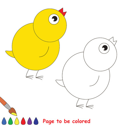 Yellow chicken to be colored, the coloring book to educate preschool kids with easy kid educational gaming and primary education of simple game level.