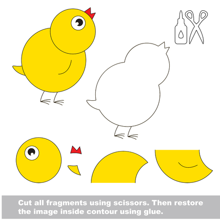 Use scissors and glue and restore the picture inside the contour. Easy educational paper game for kids. Simple kid application with Chicken. Illustration