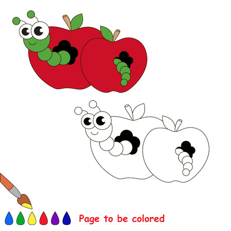 Red apple and worm to be colored. Coloring book to educate kids. Learn colors. Visual educational game. Easy kid gaming and primary education. Simple level of difficulty. Coloring pages. Illustration
