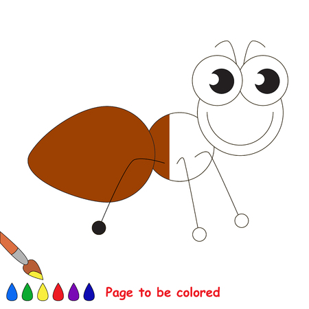 Brown ant to be colored, the coloring book to educate preschool kids with easy kid educational gaming and primary education of simple game level.